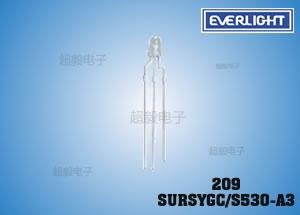 钱柜777娱乐_亿光3MM插件LED 209SURSYGC/S530-A3 计算机专用LED
